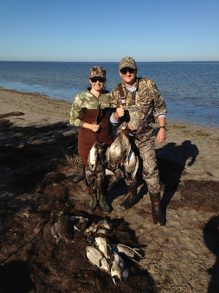 Rachel and Gary with a nice strap of ducks, 2011